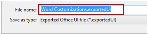 Export Ribbon Customization creates an ExportedUI file