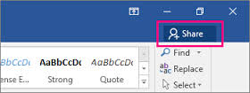 Microsoft Word Online Share Button